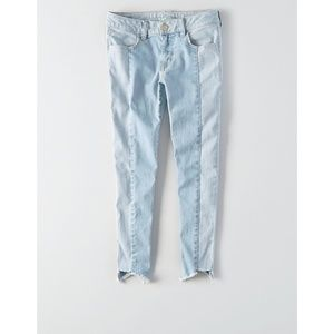 American Eagle Two Tone Light Wash Cropped Jeans